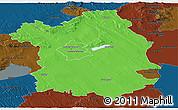 Political Panoramic Map of Fejér, darken