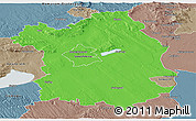 Political Panoramic Map of Fejér, semi-desaturated