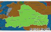 Political 3D Map of Györ-Moson-Sopron, darken