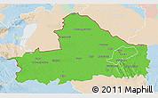 Political 3D Map of Györ-Moson-Sopron, lighten