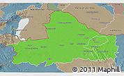 Political 3D Map of Györ-Moson-Sopron, semi-desaturated