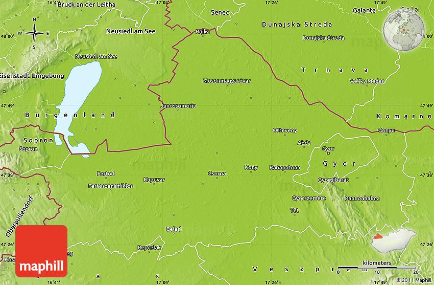 Physical Map Of Gyor Moson Sopron