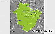 Physical Map of Hajdú-Bihar, desaturated