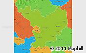 Physical Map of Jász-Nagykun-Szolnok, political outside