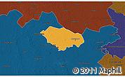 Political 3D Map of Kecskemét, darken