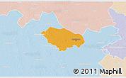 Political 3D Map of Kecskemét, lighten