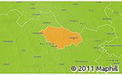 Political 3D Map of Kecskemét, physical outside