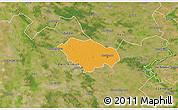 Political 3D Map of Kecskemét, satellite outside