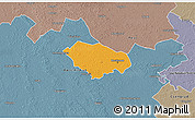 Political 3D Map of Kecskemét, semi-desaturated