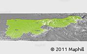 Physical Panoramic Map of Komárom-Esztergom, desaturated