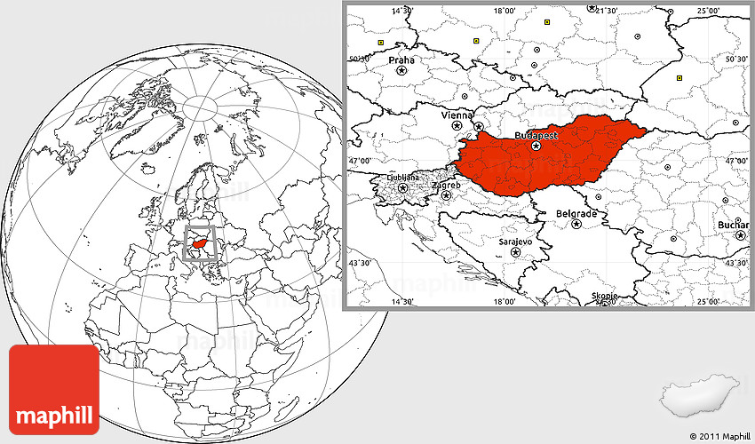 Blank Location Map Of Hungary - Hungary blank map