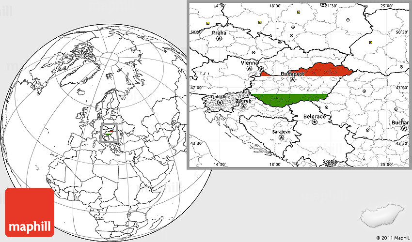 Flag Location Map Of Hungary Blank Outside - Hungary blank map