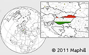 Flag Location Map of Hungary, blank outside