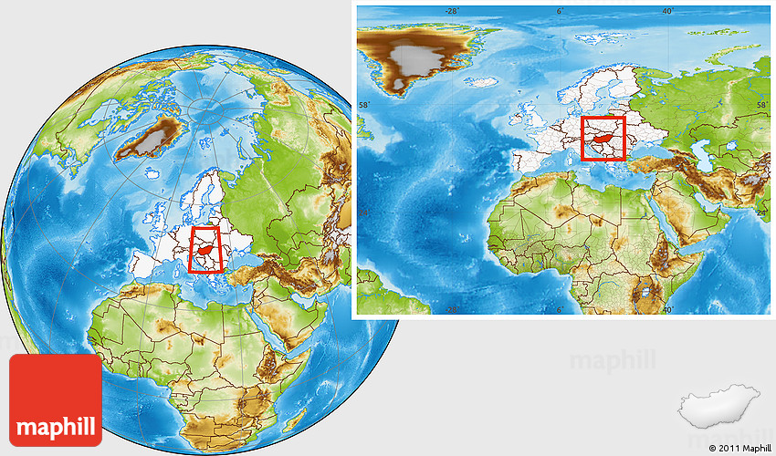 Physical Location Map of Hungary, highlighted continent, within the ...