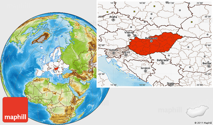 Physical location map of hungary highlighted continent gumiabroncs Choice Image