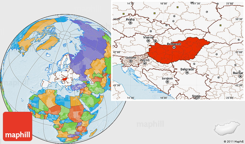 Political location map of hungary highlighted continent 2d gumiabroncs Images