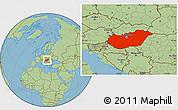 Savanna Style Location Map of Hungary