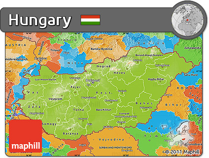 Free Physical Map of Hungary political outside