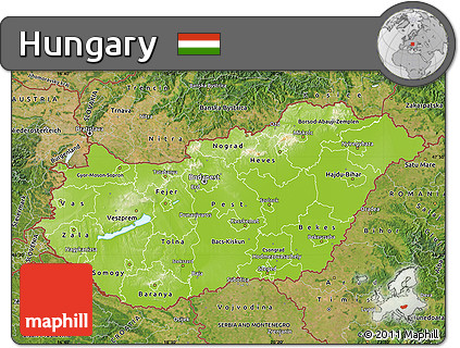 Free Physical Map of Hungary satellite outside