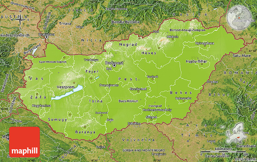 Physical Map of Hungary satellite outside