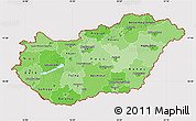 Political Shades Map of Hungary, cropped outside