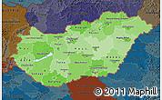 Political Shades Map of Hungary, darken