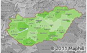 Political Shades Map of Hungary, desaturated