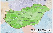 Political Shades Map of Hungary, lighten