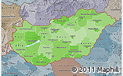 Political Shades Map of Hungary, semi-desaturated