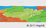 Physical Panoramic Map of Nógrád, political outside