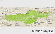 Physical Panoramic Map of Nógrád, shaded relief outside
