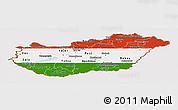 Flag Panoramic Map of Hungary