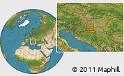 Satellite Location Map of Pécs