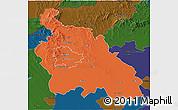 Political 3D Map of Pest, darken