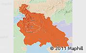 Political 3D Map of Pest, lighten