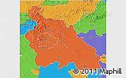Political 3D Map of Pest