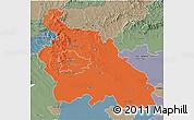 Political 3D Map of Pest, semi-desaturated