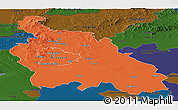 Political Panoramic Map of Pest, darken