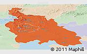 Political Panoramic Map of Pest, lighten
