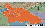 Political Panoramic Map of Pest, semi-desaturated