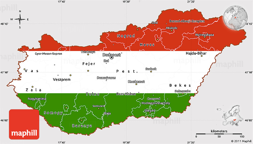 Flag Simple Map of Hungary