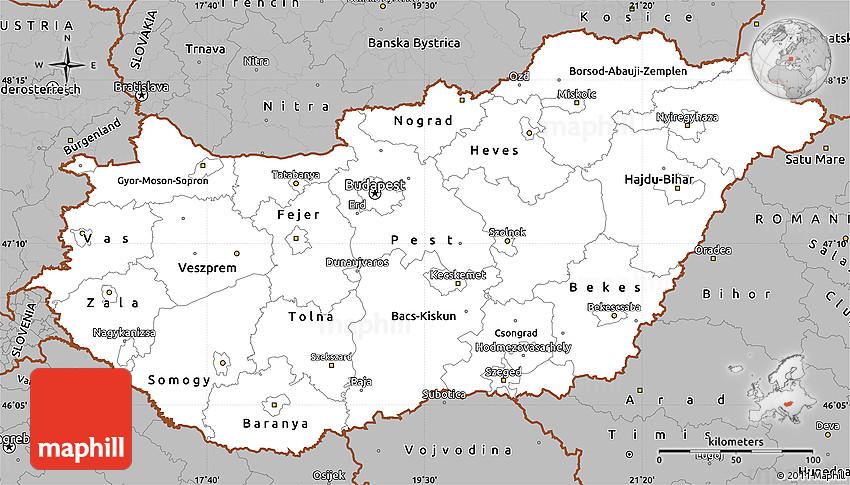 Gray Simple Map Of Hungary - Hungary map