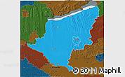Political 3D Map of Somogy, darken