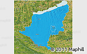 Political 3D Map of Somogy, satellite outside