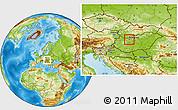 Physical Location Map of Tatabánya