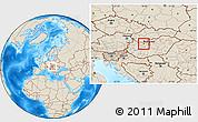 Shaded Relief Location Map of Tatabánya