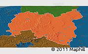 Political Panoramic Map of Tolna, darken