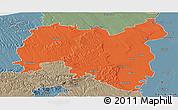 Political Panoramic Map of Tolna, semi-desaturated