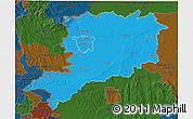 Political 3D Map of Vas, darken