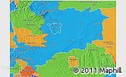 Political 3D Map of Vas